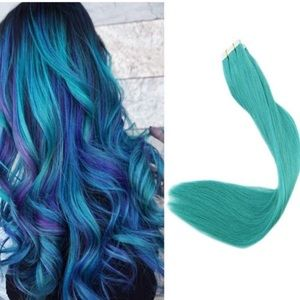 "✨ 18"" ⭐️4 PACK 100 GRAMS TEAL HUMAN HAIR TAPE INS"